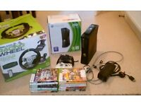 Xbox 360S 250Gb (VGC) 2 controllers, 18 games, Madcatz steering wheel+pedals