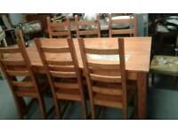 Great large pine dining table with 6 chairs £130.00