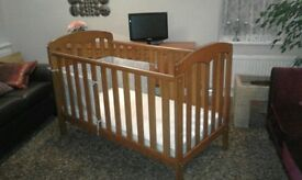 Cot bed John Lewis very good condition dark wood