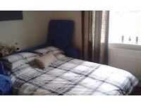 Blue Double Sofa Bed with mattress.