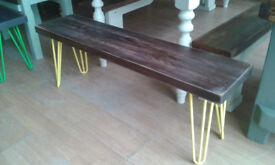 solid oak hairpin leg bench