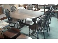 DROP LEAF DINING TABLE AND 6 CHAIRS £70.00