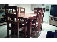 John Lewis Chunky Solid Wood Extendable Dining Table & Six Solid Wood Chairs *Excellent Condition *