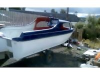 12 FT FIBERGLASS BOAT CABIN WITH TRAILER WINTER PROJECT