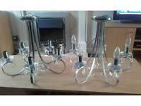 2 x 5 arm chandeliers
