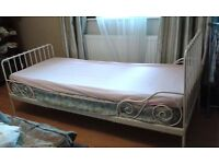 Ext bed frame with slatted bed base, white