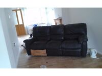 3 seater brown leather recliner sofa fully working condition