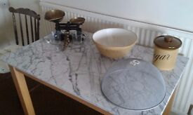 Marble kitchen table and assorted baking goods