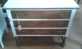 sa vintage chest of drawers with painted/distressed carcass and natural oak drawers & legss