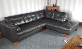 Dark brown corner sofa plus large storage footstool no rips or tears