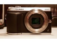Panasonic Lumix DMC-GX7 Digital Camera - Body Only / Silver / Boxed / 4 Months Warranty Remaining