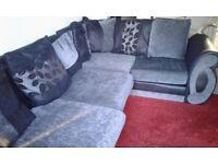 Corner sofa black and grey. 3 years old