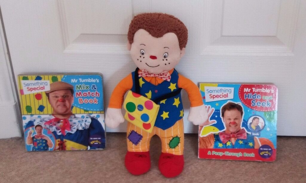 "14"" MR TUMBLE Talking Soft Plush Toy Doll Plus Two Hardback Books, Mix & Match & Hide And Seek"