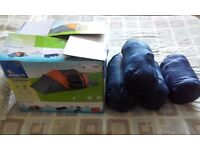 Aventura 4 Man Tent Pack with 4 sleeping bags + 4 ground mats + carry bag - used once still boxed