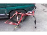 "26"" folding mountain bike frame."