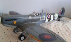 rc plane. flightline rc spitfire, ready to fly.