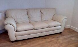 3 seather cream sofa only £40