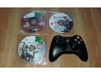 XBOX 360 CONTROLLER & 3 GAMES