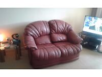 FREE TWO, 2 Seater Leather Burgundy Sofas free for collection