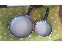 2 tower ceramic frying pans