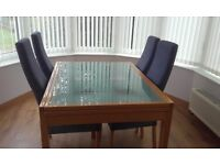 Dining Table extenable with 4 Chairs Extendable, Glass Top including Glass Wall Unit