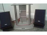 Hifi/cd stand with technics speakers