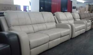2PC RECLINING SOFA AND CHAIR IN A CREAM GEL LEATHER MODEL 9112 $1679.00 SAVE $730
