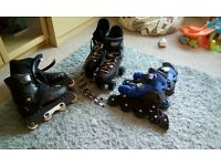 Three pairs of boys rollerblades/skates size 4/5