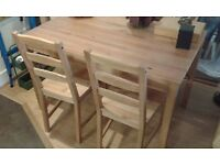 SOLID PINE JOKKMOKK IKEA DINING TABLE AND CHAIRS