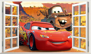 3d disney cars pixar mcqueen mater wall stickers kids art decal mural removable ebay - Disney pixar cars wall mural ...
