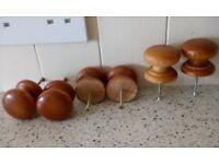 6 Medium size solid wooden drawer / cupboard / door knobs