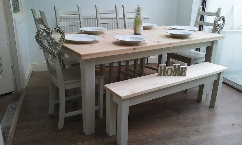 Fab Newly Refurbished Contemporary Pine Table Chairs Bench Shabby Chic Seats 6 8 Chunky