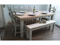 FAB NEWLY REFURBISHED CONTEMPORARY PINE TABLE CHAIRS + BENCH SHABBY CHIC SEATS 6-8 CHUNKY TOP