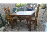 Japanese Pine dining table and 4 chairs