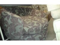 Purple Floral Beige Swivel Cuddle Chair Sofa love Set Lounge Couch Arm Chair Stool