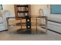 Glass and steel tv stand, very stylish in excellent condition