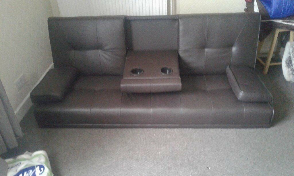 Sofa Bed Brown Leather Ideal Camper Conversion 90 Pounds Only