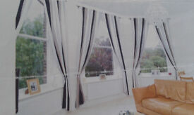 3 Pairs of Curtains for sale - blue, grey, white, black vertical stripe, orginally from Ikea