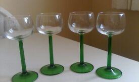 4 beautiful green stemmed wine/liqueur glasses