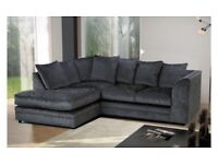 BRAND NEW CRUSHED VELVET FABRIC SOFA CORNER OR 3 & 2 SEATER SILVER BLACK MINK SETTEE COUCH SUITE