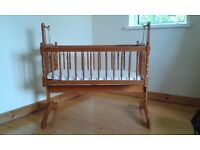 Wooden Cradle with mattress