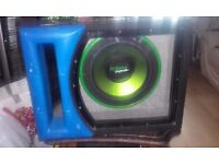 Car Subwoofer Fusion Encounter Customised Glass fronted Bass bin. 1000 watts plus.