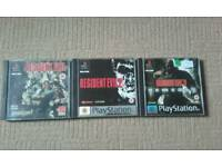 PlayStation 1 Resident Evil 1, 2 and 3 games.