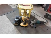 makita angle grinder and dewalt 240 drill two chargers 240 -110 transformer.