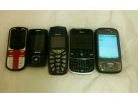 Joblot of 5 fully working mobile phones all working with wear