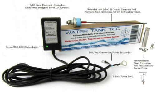 ICCP Powered Anode Rod System. Stops Internal Tank Corrosion & Hot Water Odor.