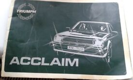 Triumph acclaim owners hand book
