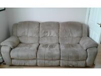 DFS 2 and 3 seater sofa + footstool, faux suede