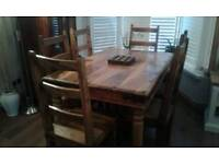 Solid wood table plus six chairs