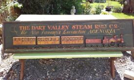 VINTAGE LARGE WOOD DART VALLEY STEAM RAILWAY PICTURE